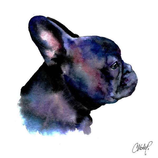 Frenchie Poster featuring the painting French Bulldog Portrait by Christy Freeman