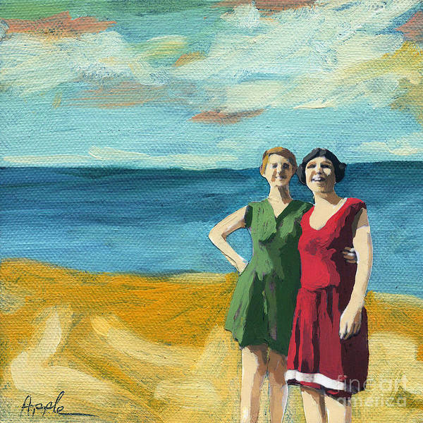 Beach Poster featuring the painting Friends On The Beach by Linda Apple