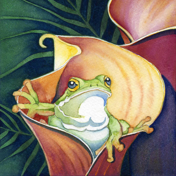 Poster featuring the painting Frog In Gold Calla Lily by Lyse Anthony