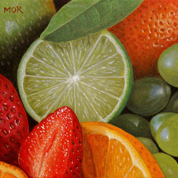 Fruit Poster featuring the painting Fruitmix by Dietrich Moravec