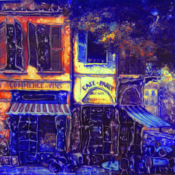 Cafe Poster featuring the photograph Gay Paree In Blue by Rianna Stackhouse