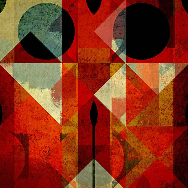 Abstract Poster featuring the digital art Geomix-04 - 39c3at22g by Variance Collections