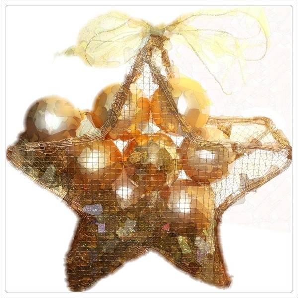 Christmas Poster featuring the photograph Gold Ball Star by Ellen Barron O'Reilly