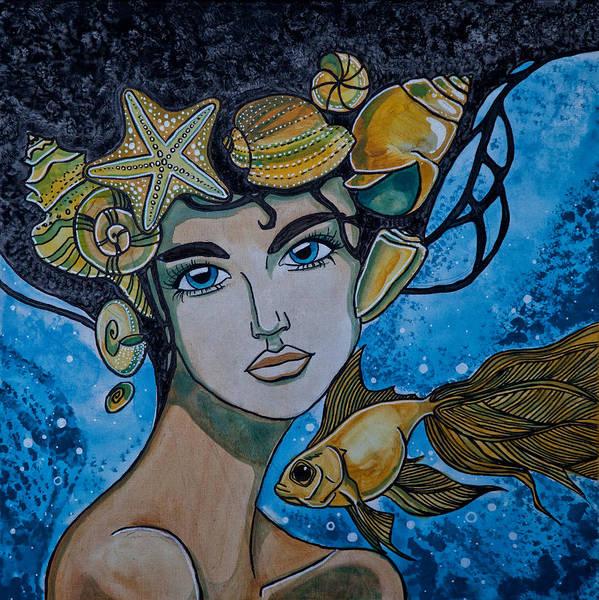 Jenya Kadnikova Inner_sea Beauty Mermaid Fish Poster featuring the painting Gold Fish by Jenya Kadnikova