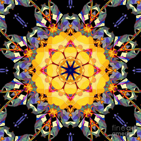 Mandala Poster featuring the digital art Golden Flower Abstract by Phil Perkins
