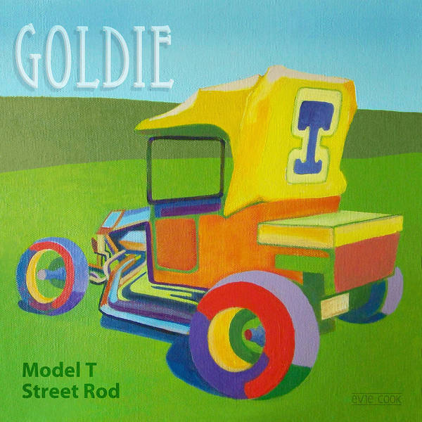 Ford Poster featuring the painting Goldie Model T by Evie Cook