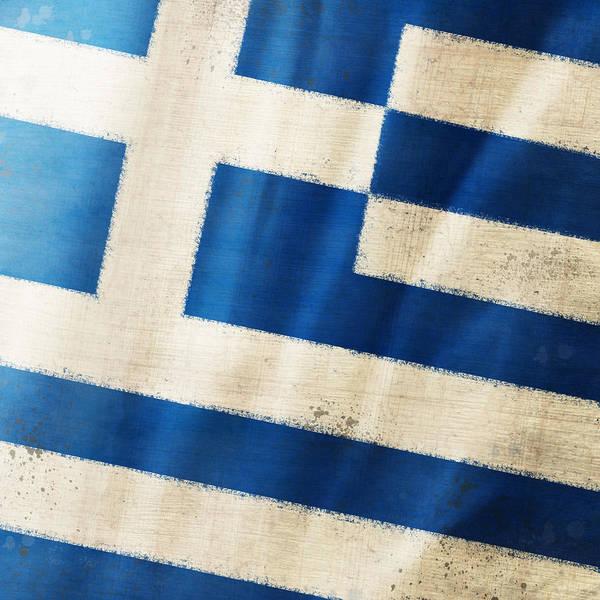 Chalk Poster featuring the photograph Greece Flag by Setsiri Silapasuwanchai