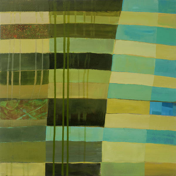 Abstract Art Poster featuring the painting Green Stripes 1 by Jane Davies