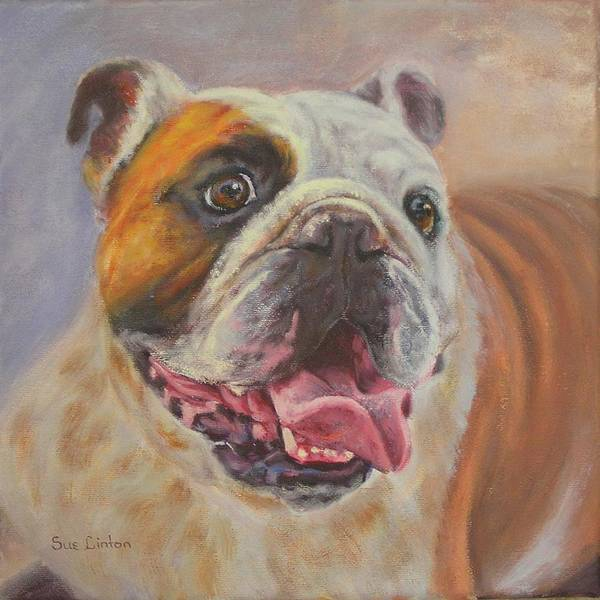 English Bulldog Portrait Poster featuring the painting Griff by Sue Linton