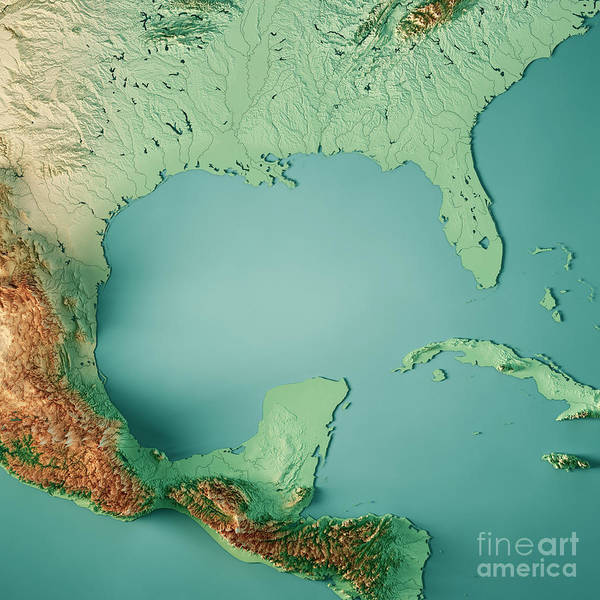 Gulf Of Mexico 3d Render Topographic Map Color Poster
