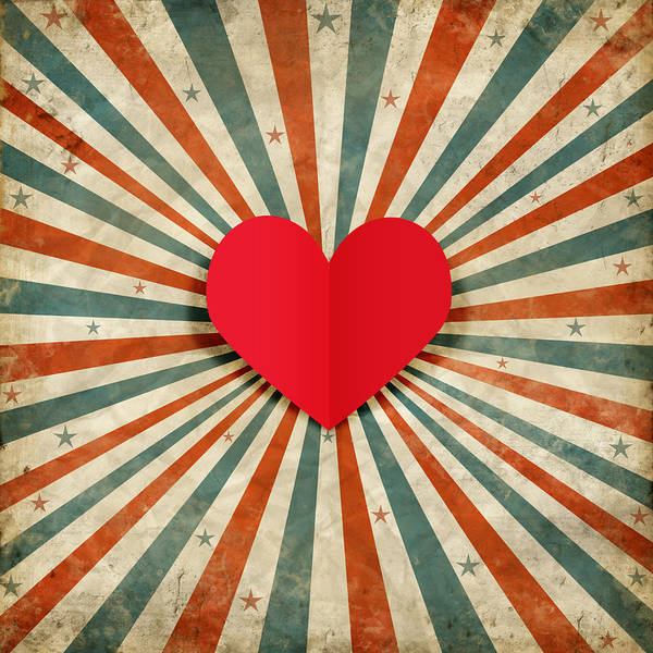 Antique Poster featuring the photograph Heart With Ray Background by Setsiri Silapasuwanchai