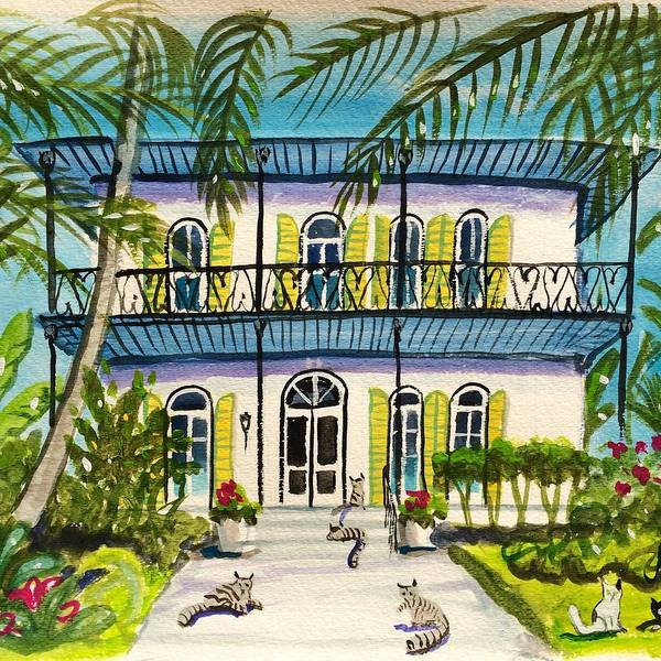 Hemingway's House Poster featuring the painting Hemingway's Home Key West by Maggii Sarfaty
