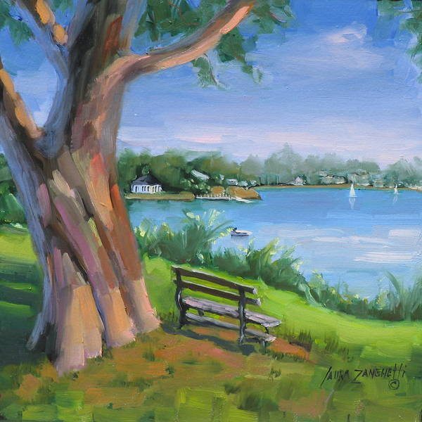 Seascape Poster featuring the painting Hingham's Beauty by Laura Lee Zanghetti