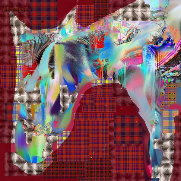Abstract Poster featuring the digital art Horse 2 by Dave Kwinter