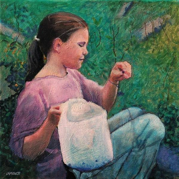 Girl Poster featuring the painting Huckleberry Picker by Robert Bissett