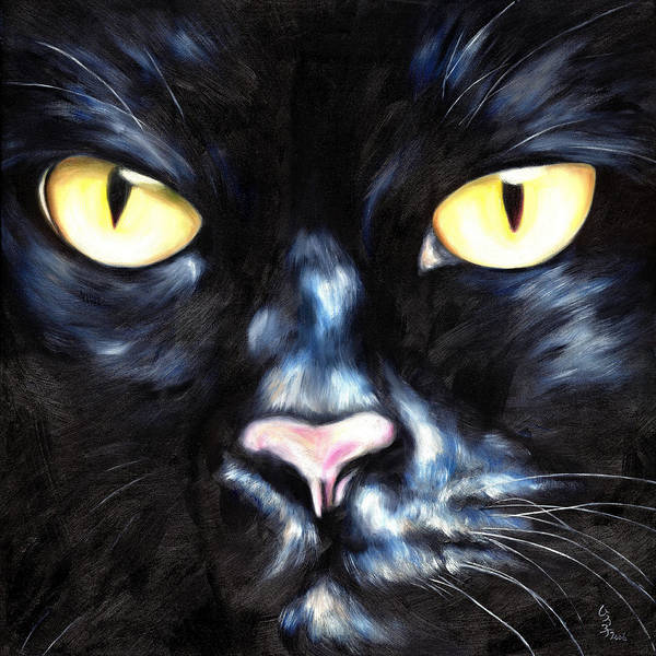 Black Cat Poster featuring the painting I Am Night by Hiroko Sakai
