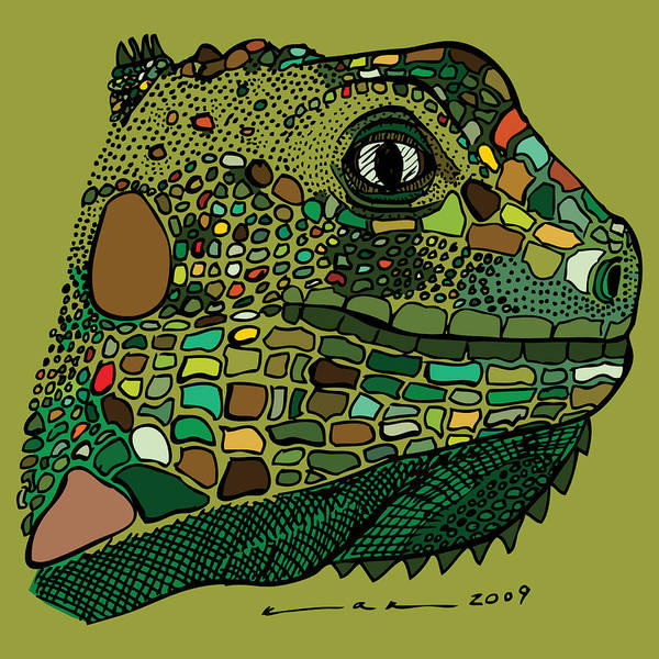 Drawing Poster featuring the drawing Iguana - Color by Karl Addison