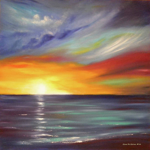 Brown Poster featuring the painting In The Moment Square Sunset by Gina De Gorna