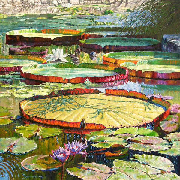 Garden Pond Poster featuring the painting Interwoven Beauty by John Lautermilch