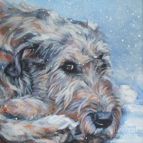 Irish Wolfhound Poster featuring the painting Irish Wolfhound Resting by Lee Ann Shepard