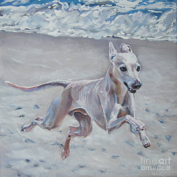 Italian Greyhound Poster featuring the painting Italian Greyhound On The Beach by Lee Ann Shepard