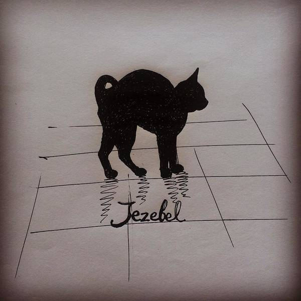 Cat Poster featuring the drawing Jezebel by Pookie Pet Portraits