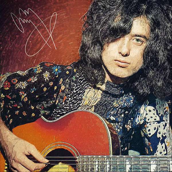 Jimmy Page Poster featuring the digital art Jimmy Page by Taylan Apukovska