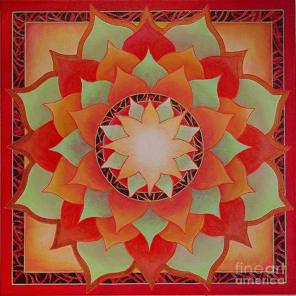 Mandala Poster featuring the painting Juicy Lotus by Charlotte Backman