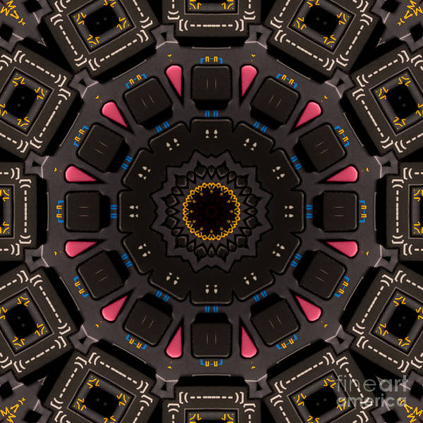Calculator Poster featuring the mixed media Kaleidoscopic Calculator by Rolf Bertram