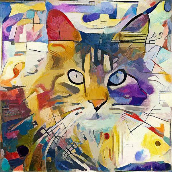 Kandinsky Poster featuring the digital art Kandinsky Cat by Yury Malkov