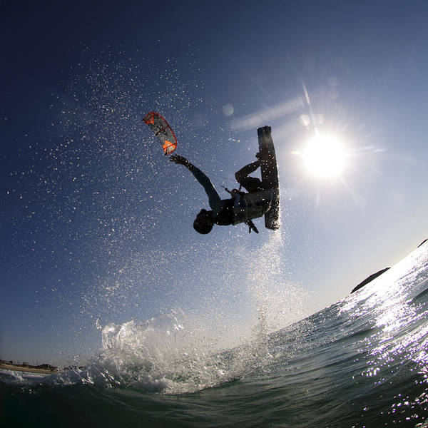 Motion Poster featuring the photograph Kitesurfing In The Mediterranean Sea by Hagai Nativ