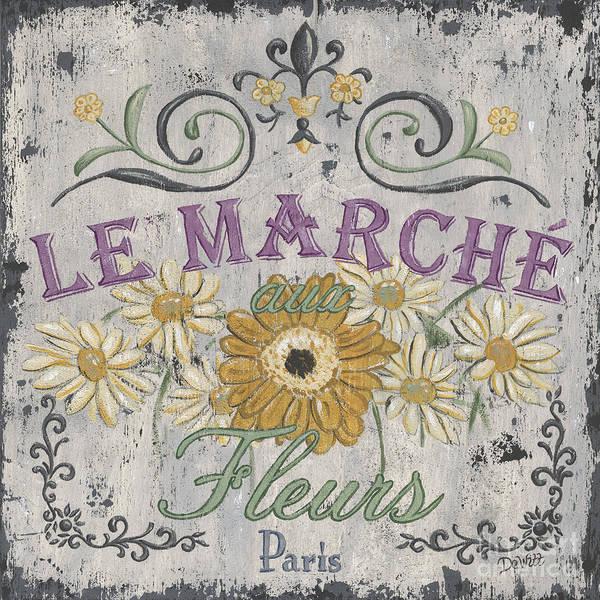 Le Marche Poster featuring the painting Le Marche Aux Fleurs 1 by Debbie DeWitt