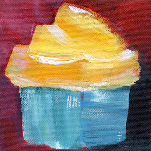 Cupcake Poster featuring the painting Lemon Cupcake- Art By Linda Woods by Linda Woods