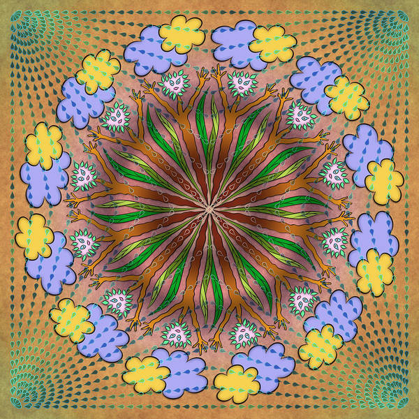 Whimsical Mandalas Poster featuring the digital art Let It Rain by Becky Titus