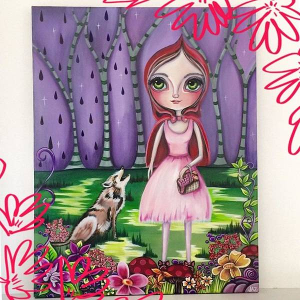 Whimsical Poster featuring the photograph little Red Riding Hood Painting by Jaz Higgins