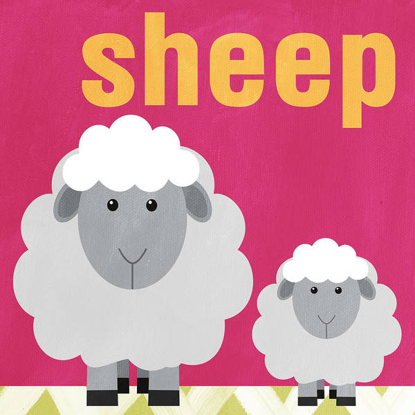 Sheep Poster featuring the painting Little Sheep by Linda Woods