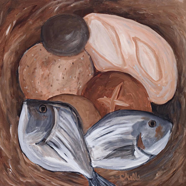 Biblical Poster featuring the painting Loaves And Fishes by Chelle Fazal
