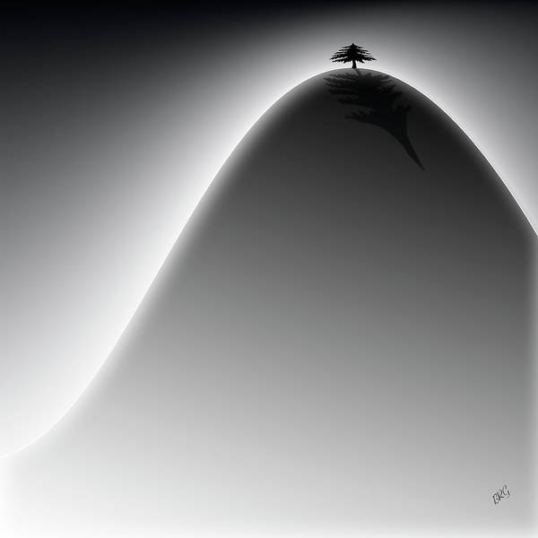 Minimalist Landscape Poster featuring the digital art Lonely Cedar Tree - On The Hill by Ben and Raisa Gertsberg