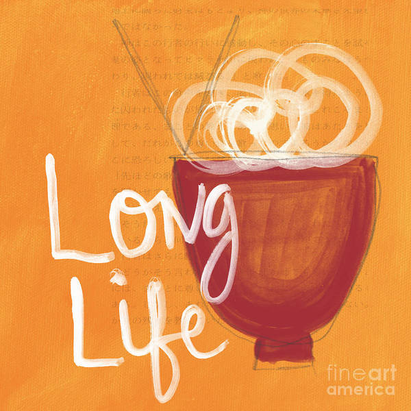 Life Poster featuring the painting Long Life Noodle Bowl by Linda Woods
