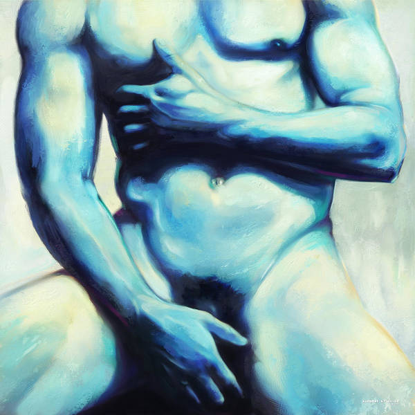 Male Poster featuring the painting Male Nude 3 by Simon Sturge