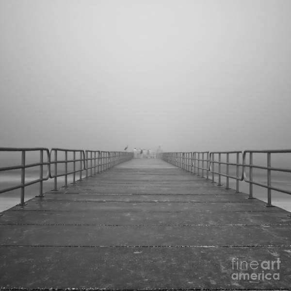 Infrared Poster featuring the photograph Manatee Beach Pier In Fog Infrared 39 by Rolf Bertram