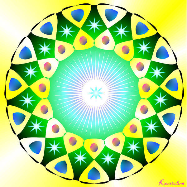 Mandala Poster featuring the digital art Mandala - Healing The Heart by Konstadina Sadoriniou - Adhen