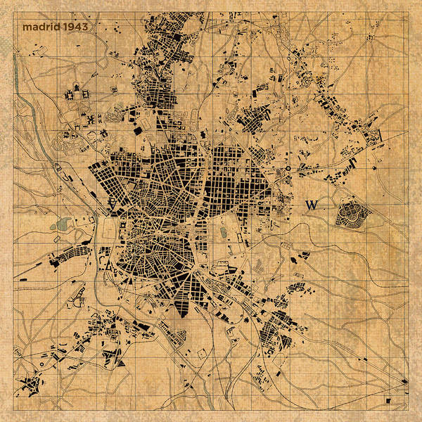 Madrid Map Of Spain.Map Of Madrid Spain Vintage Street Map Schematic Circa 1943 On Old Worn Parchment Poster