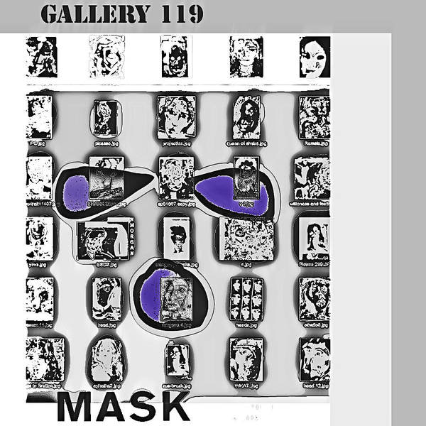 Mask Poster featuring the drawing Mask Post Card by Noredin Morgan