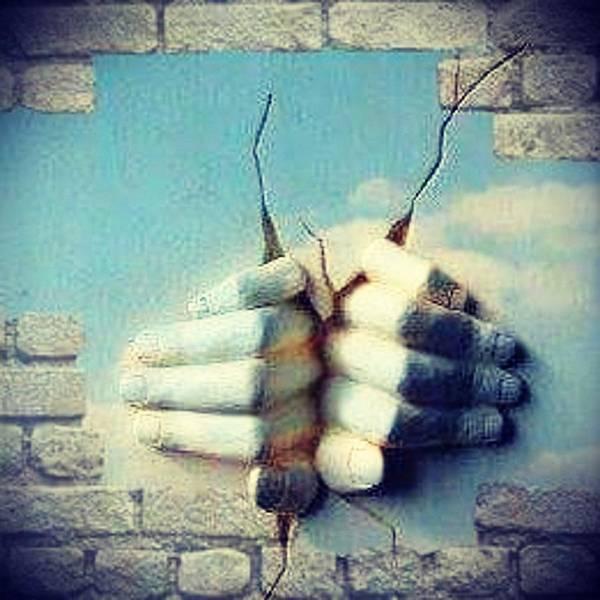 Sculpture Hands Sky Poster featuring the digital art Masters Hands by CJ Redbird