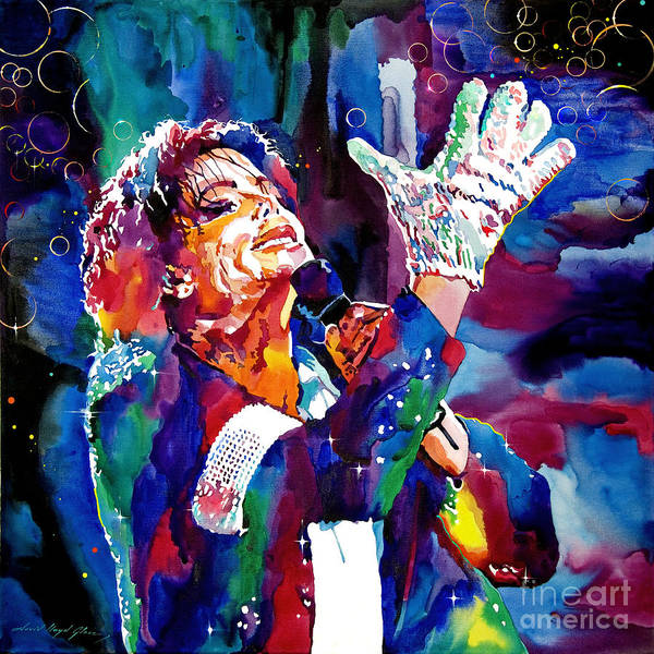 Michael Poster featuring the painting Michael Jackson Sings by David Lloyd Glover
