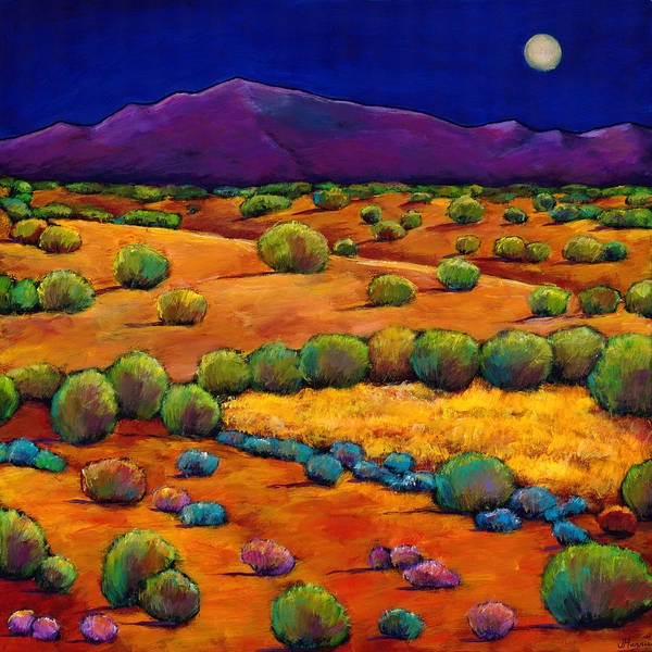 New Mexico Poster featuring the painting Midnight Sagebrush by Johnathan Harris