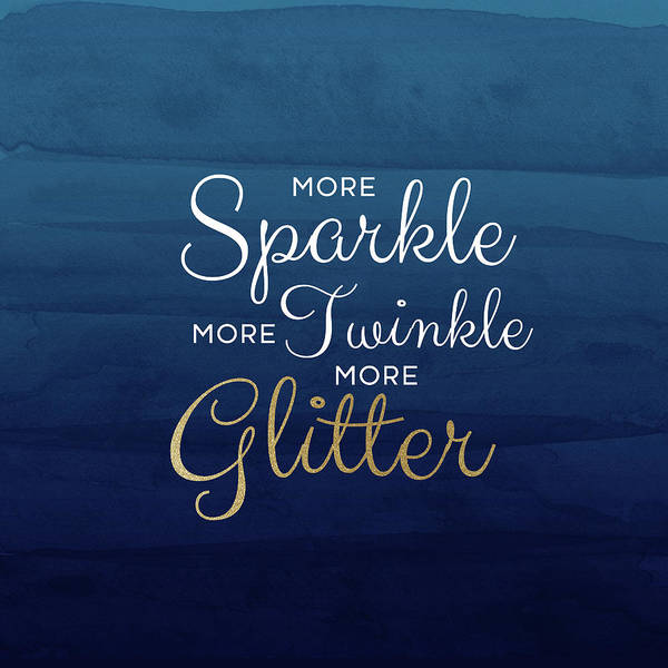 Sparkle Poster featuring the mixed media More Sparkle Blue- Art By Linda Woods by Linda Woods