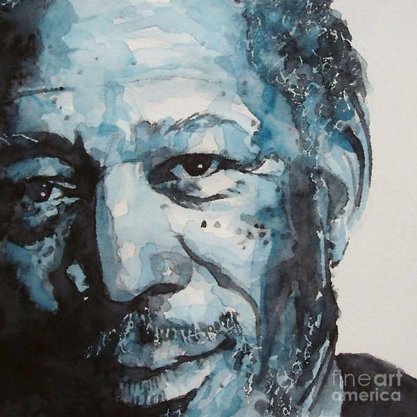Morgan Freeman Poster featuring the painting Morgan Freeman by Paul Lovering