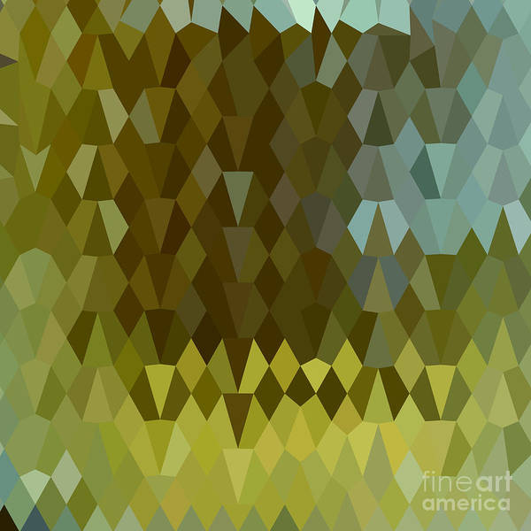 Low Polygon Poster featuring the digital art Moss Green Abstract Low Polygon Background by Aloysius Patrimonio